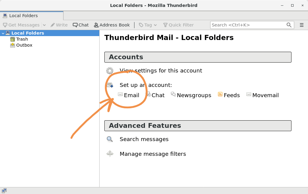 GreenMail with mail client Step 1