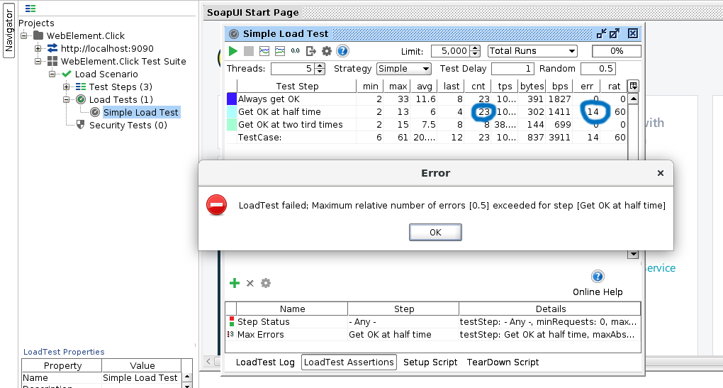 SoapUI Performance Load Test Assertion Failed